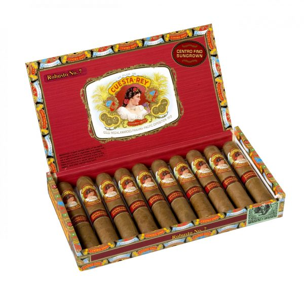 cuesta rey centro fino robusto number 7 box open