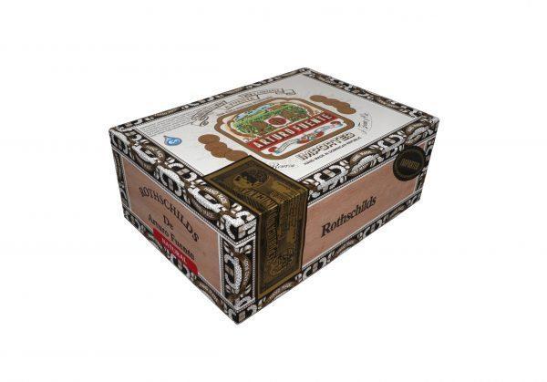 Closed box of 25 count Arturo Fuente Gran Reserva Rothschild Natural cigars