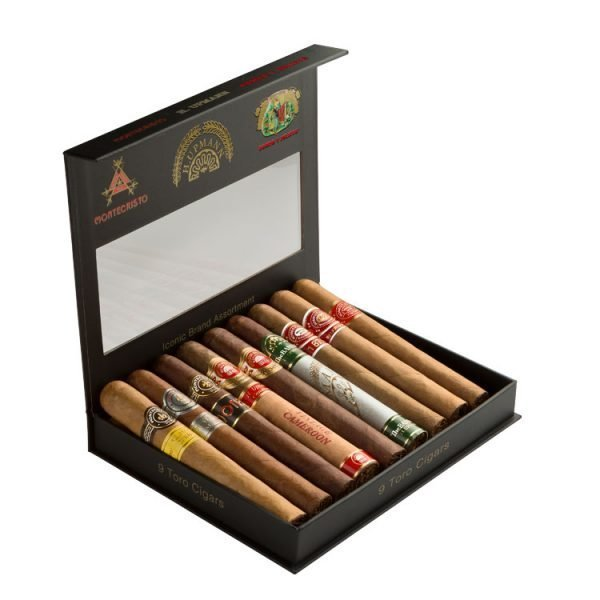 Open box of Iconic 9 count Cigar Sampler