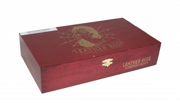 Closed box of 24 count Deadwood Leather Rose Torpedo cigars